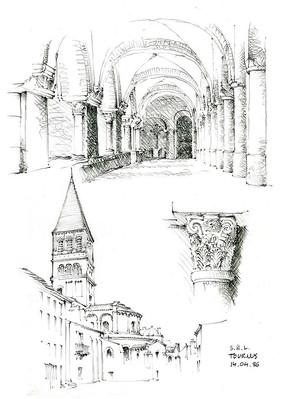 欧式教堂手绘细节图图片