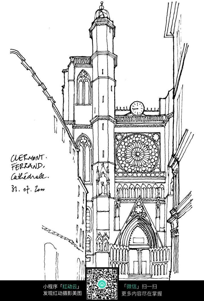 欧式精美建筑线描稿图片