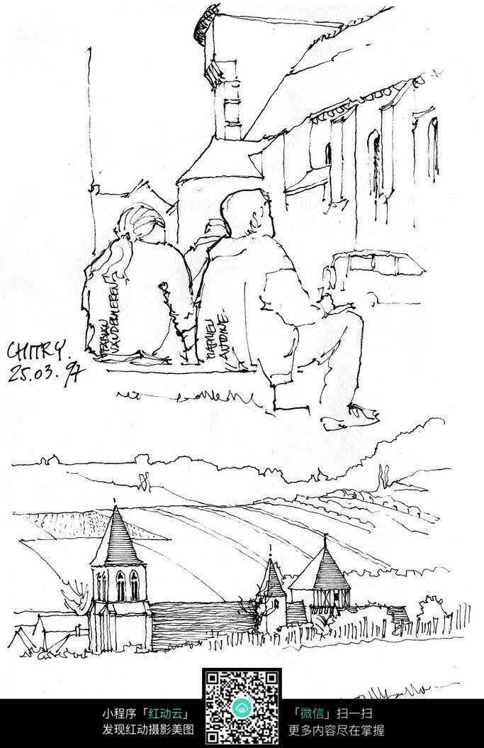 欧式人物建筑简笔手绘线描图图片