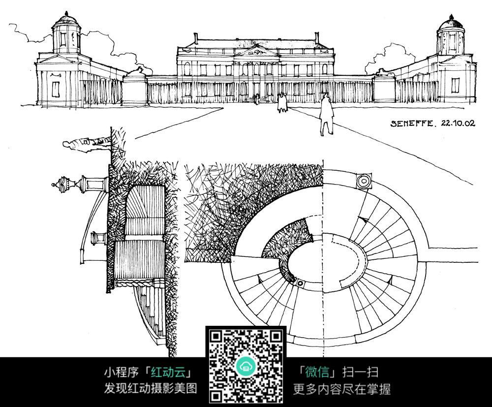 欧式手绘建筑设计图