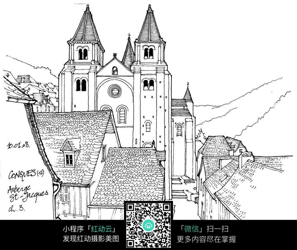 欧式双塔建筑手绘线描画