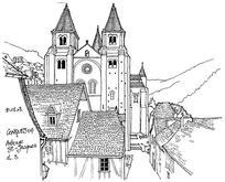欧式双塔建筑手绘线描画图片