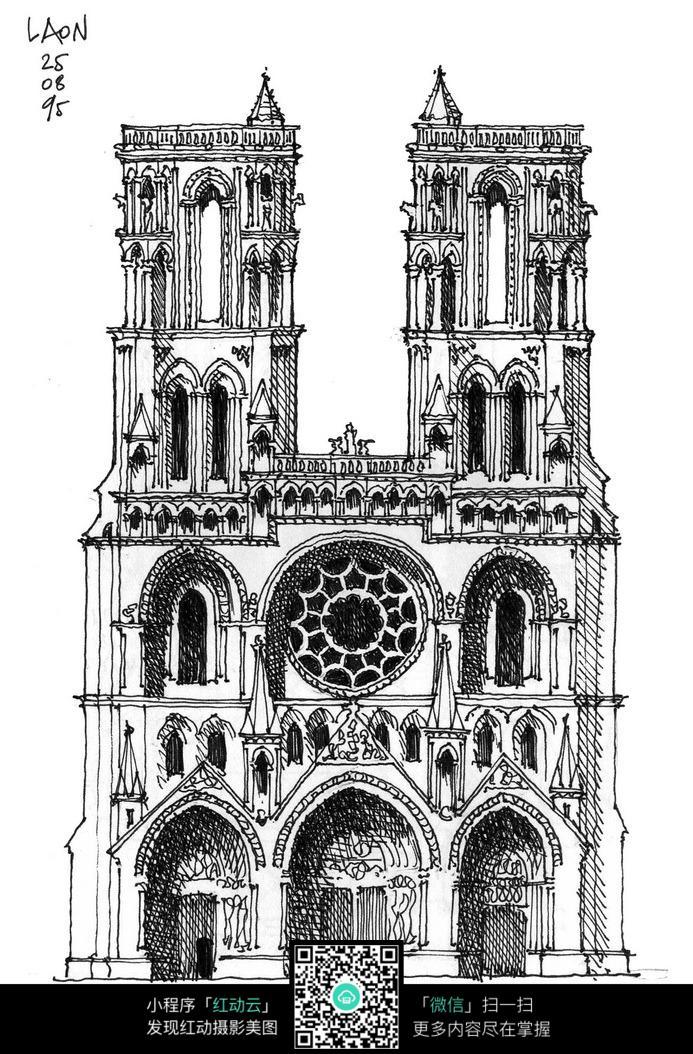 欧式双塔楼手绘线描画图片