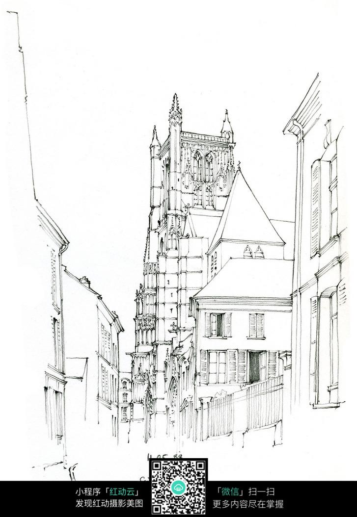 欧式塔楼高层建筑手绘线描画图片