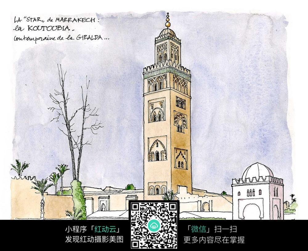 欧式塔楼建筑手绘水彩图图片