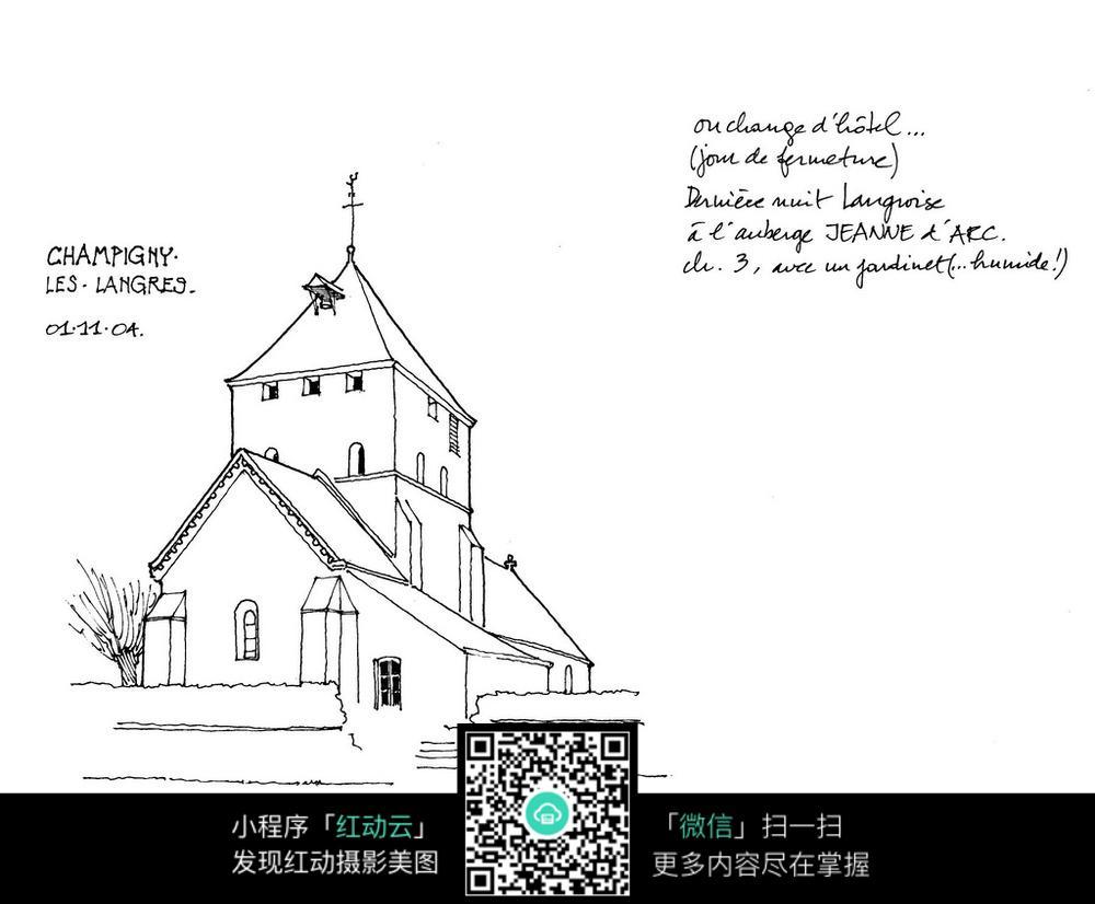 欧式小别墅手绘线描画图片