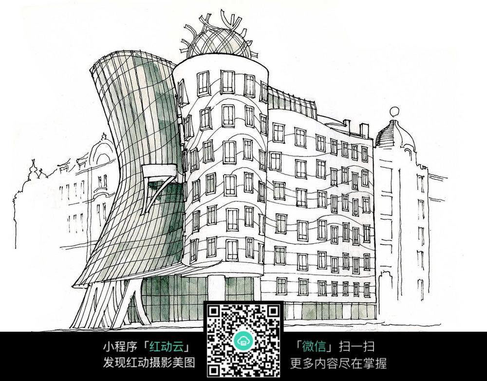 欧式异形建筑手绘线描画