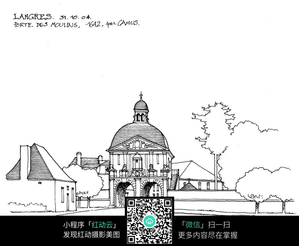 欧式圆顶建筑手绘线描画图片图片