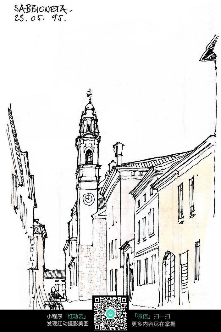欧式钟楼建筑街景手绘线稿画图片