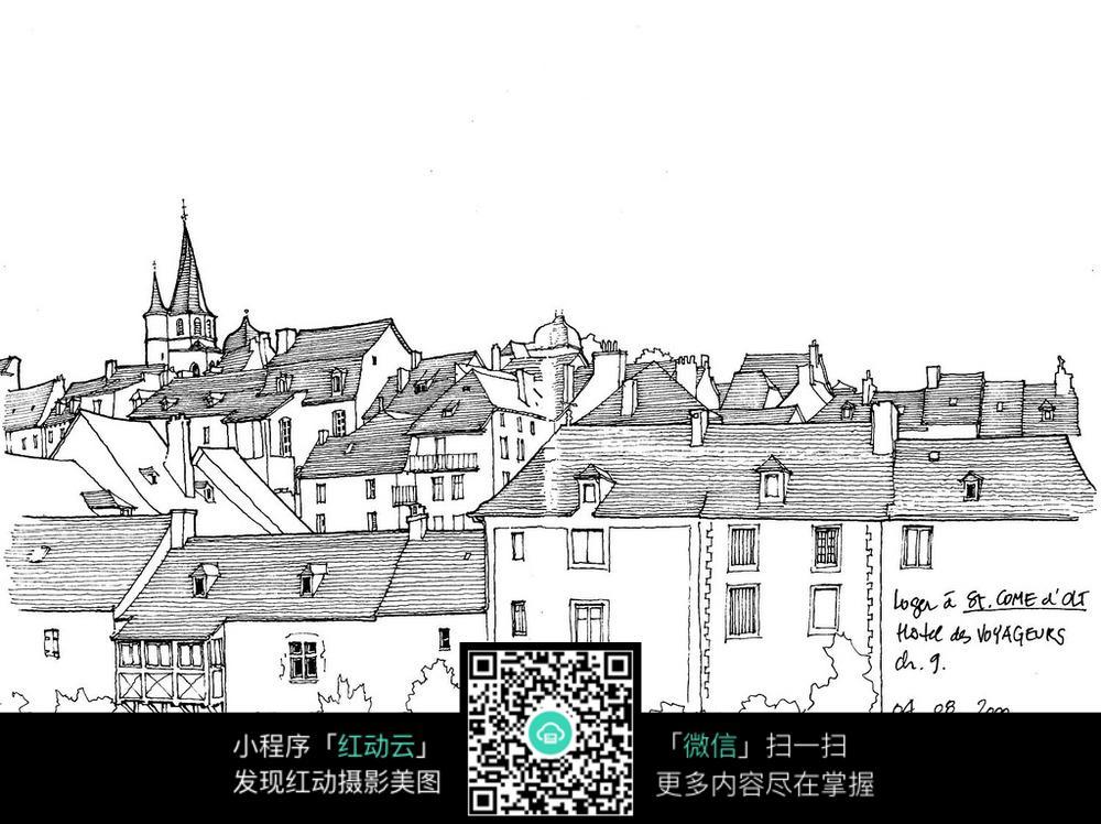 欧式钟楼建筑景观手绘线描图图片