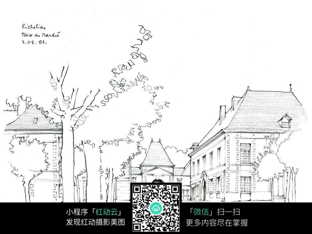 欧式钟楼建筑手绘线稿图图片