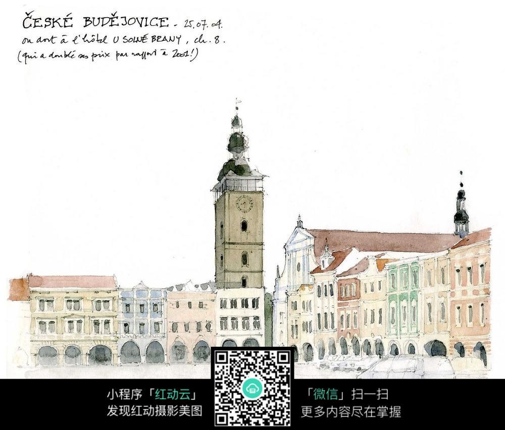 欧式钟楼手绘水彩线描画图片