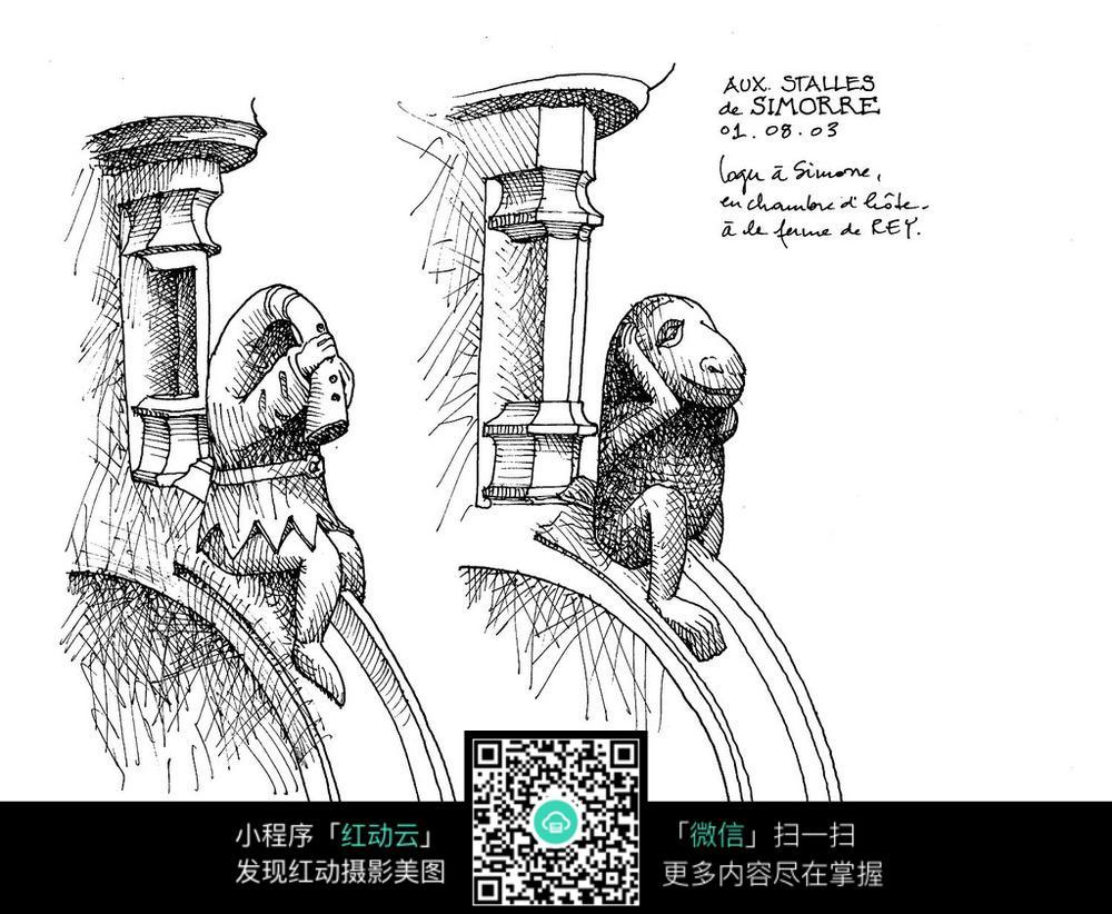 欧式柱墩雕塑手绘线描图形图片