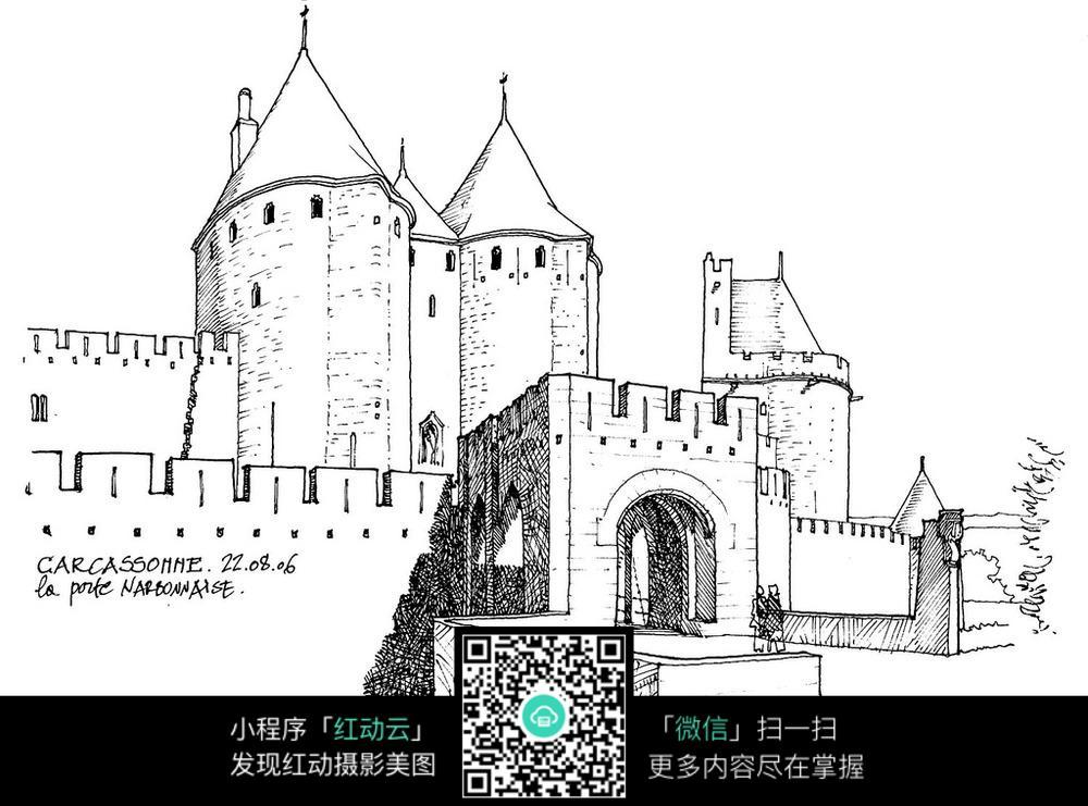 欧洲城堡写生手绘图图片