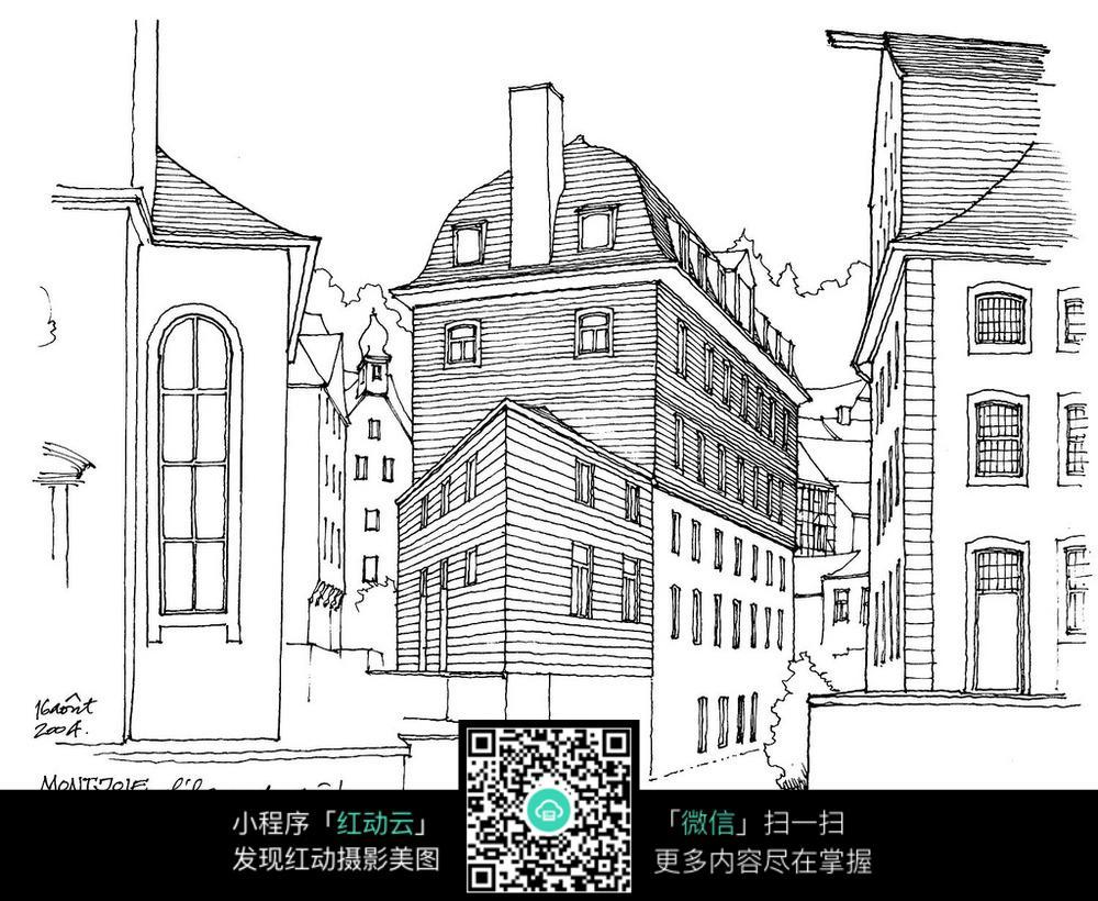欧洲街道建筑手绘插画图片