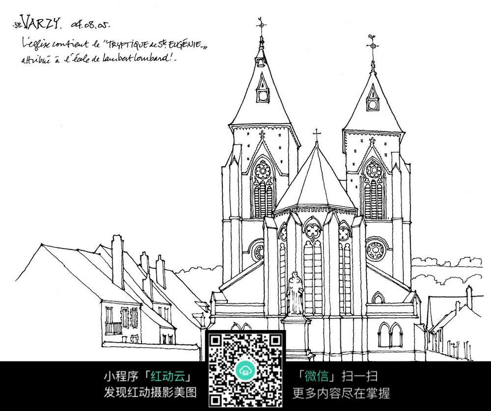 铅笔画简笔建筑设计图