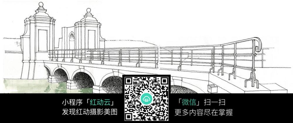 桥梁建筑手绘图图片免费下载 编号5103952 红动网