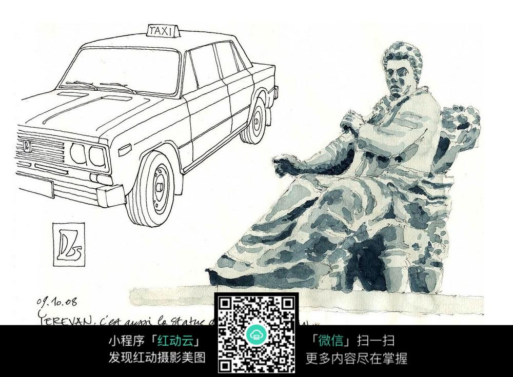 汽车人物雕塑手绘水彩线描稿图片