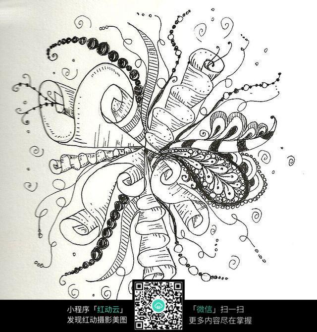 花朵 花纹 图案 奇形 手绘 黑白 构成 艺术 创意