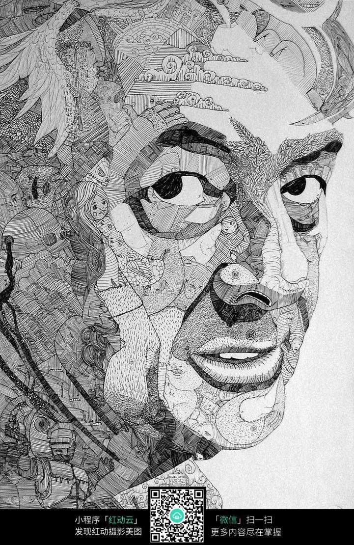 人物 男人 绘画 侧脸 素描 速写 黑白画 铅笔画 阴影 立体 图片素材