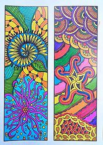 色彩构成图案书签