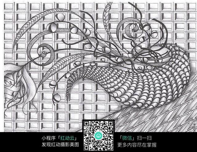 手绘抽象花纹几何图形图片