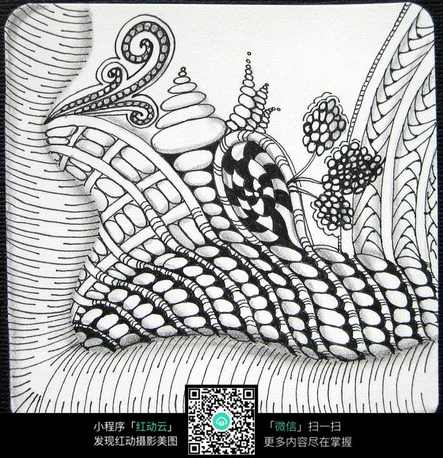免费素材 图片素材 漫画插画 其他 手绘抽象花纹立体空间图  请您分享