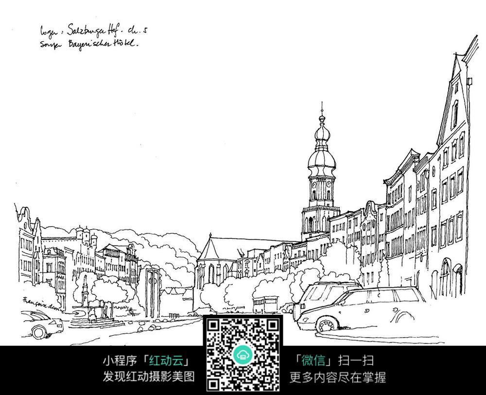 免费素材 图片素材 漫画插画 其他 手绘风景线稿