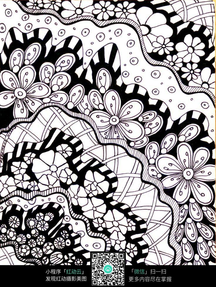 手绘黑白花纹花边图