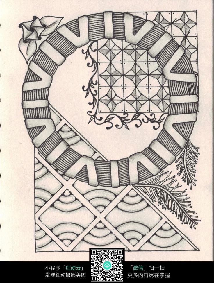 手绘黑白线描花纹图