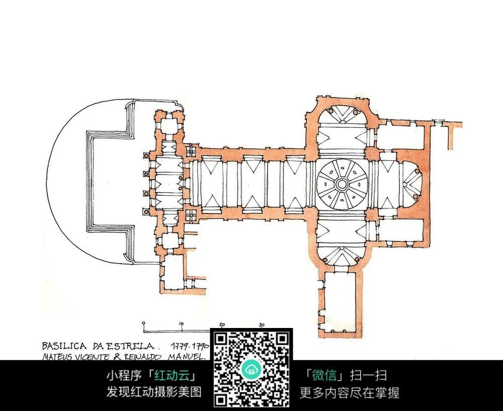 手绘建筑平面图图片
