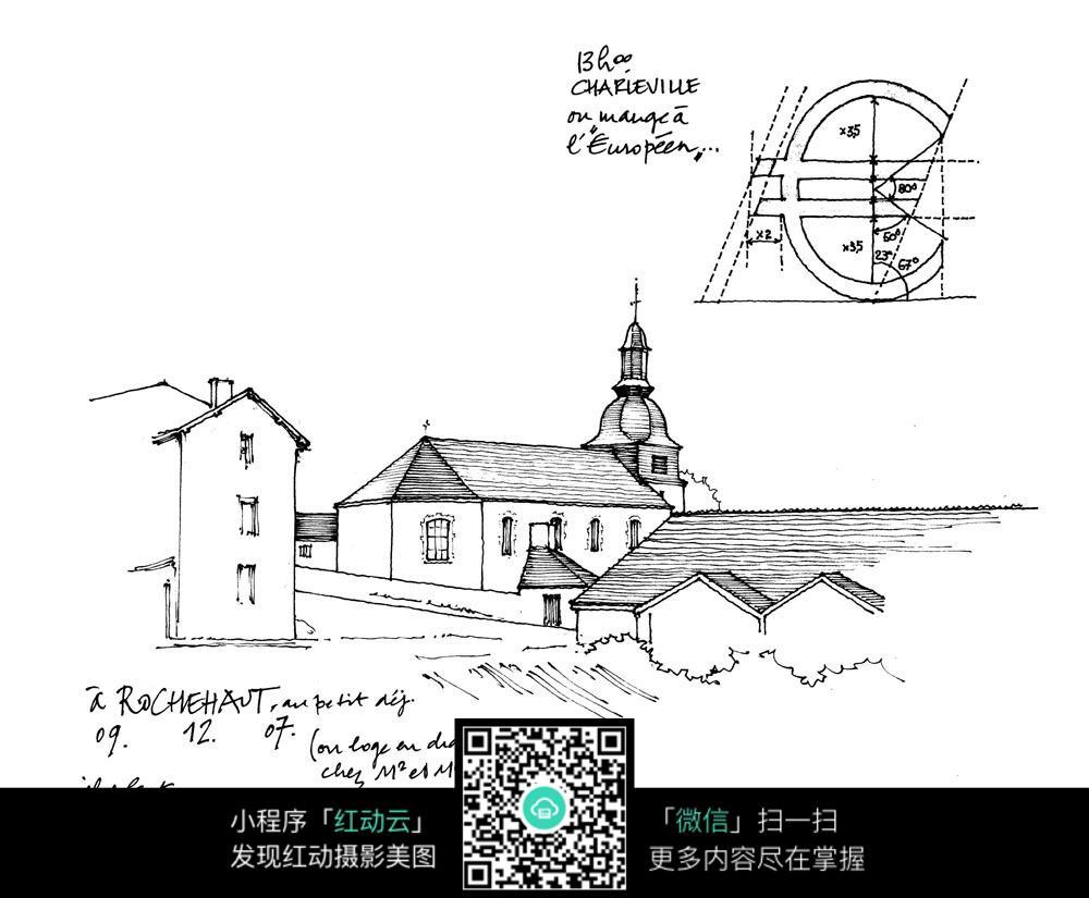 手绘建筑素材图