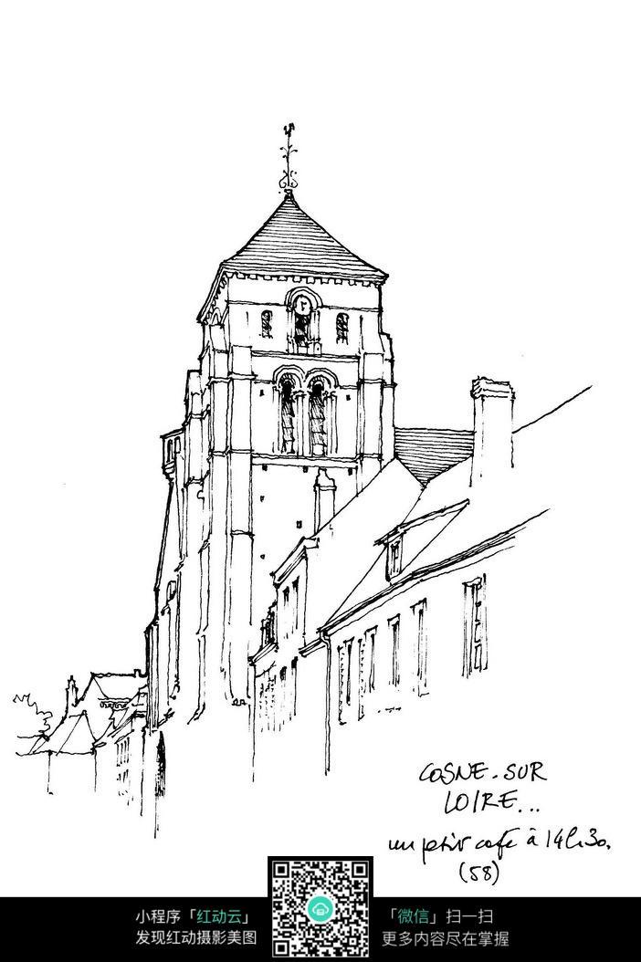 手绘线描街景图