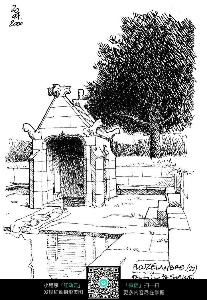 素描建筑线稿