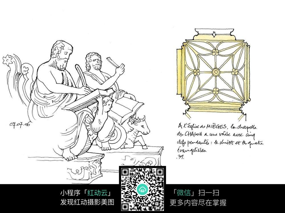 外国人像柱子手绘线稿图图片