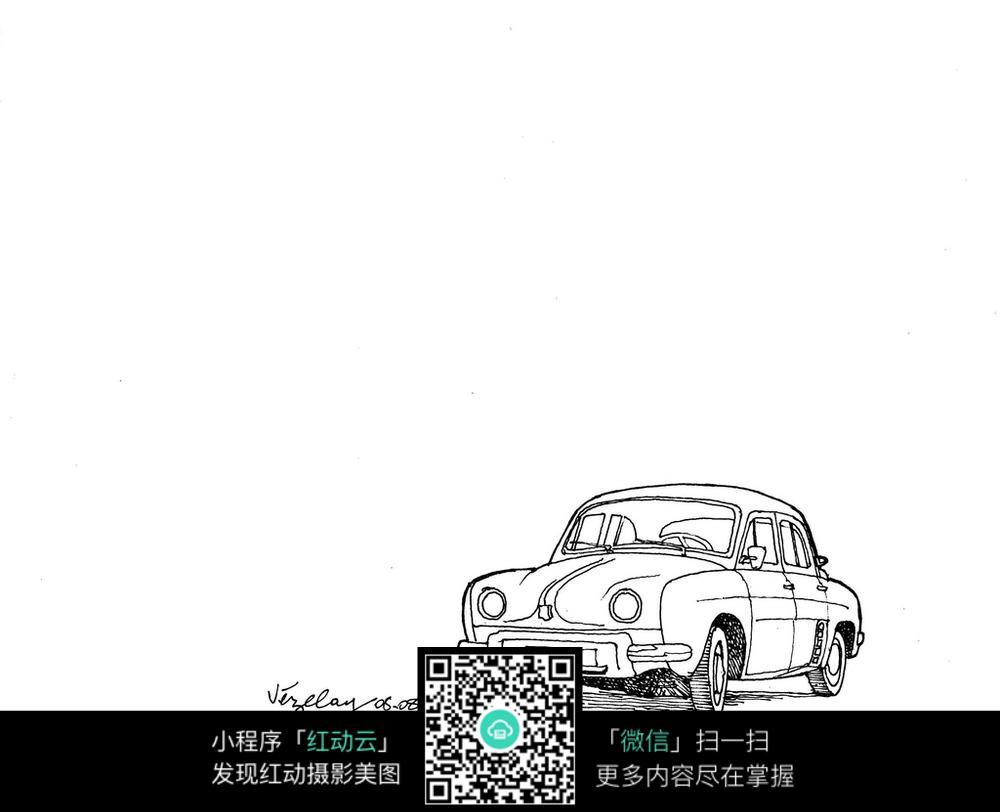 小汽车手绘线描图图片