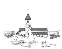 小镇城堡线稿插画