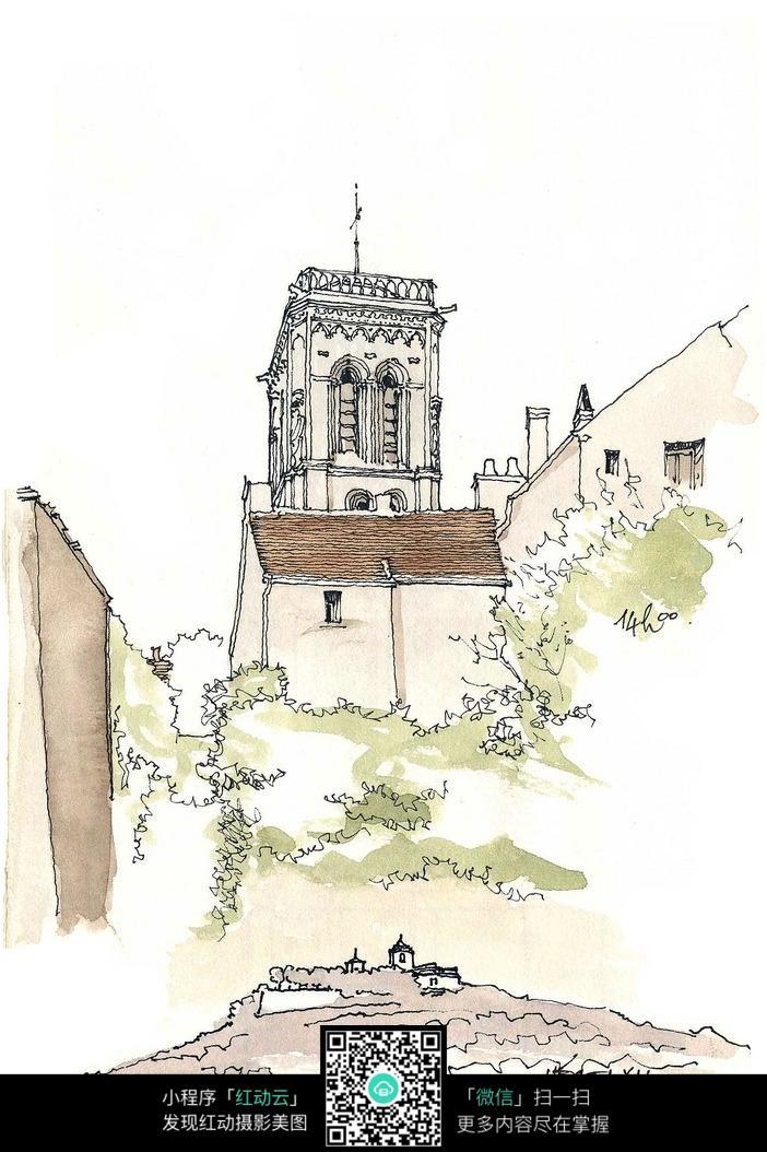 植物建筑线稿插画