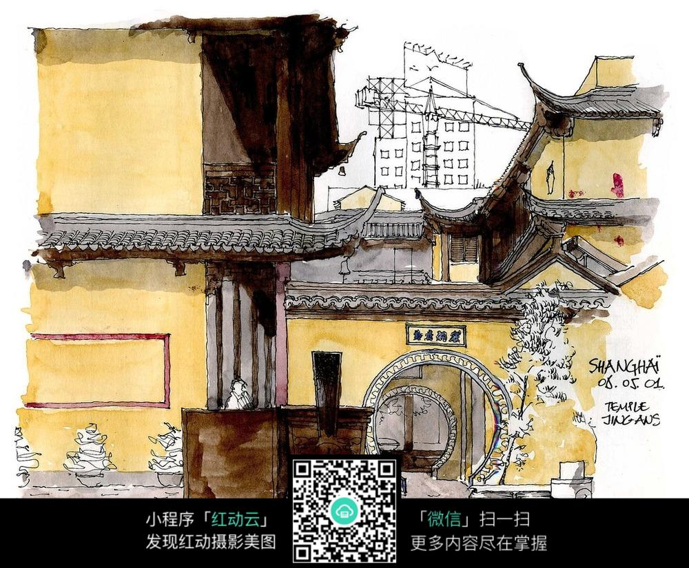中国古典房屋彩色手绘图图片