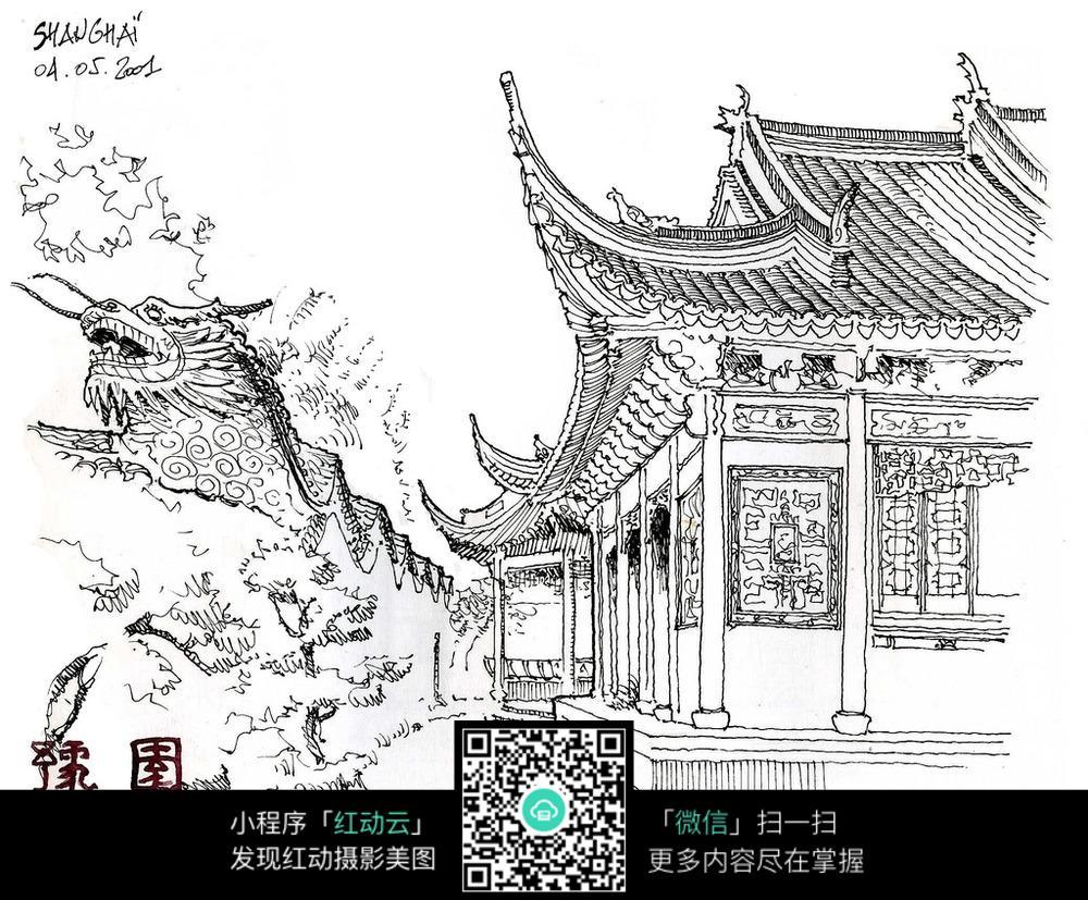中国古典院落建筑手绘图图片
