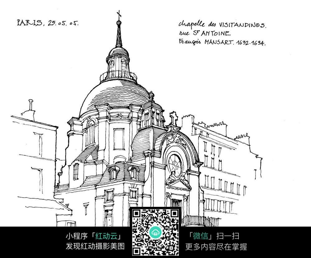 巴黎尖顶建筑钢笔手绘线描图图片