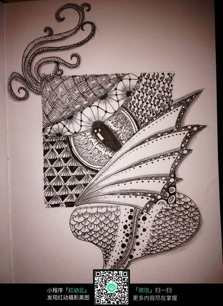 眼睛 花纹 图形 图案 奇特 手绘 黑白 构成 创意