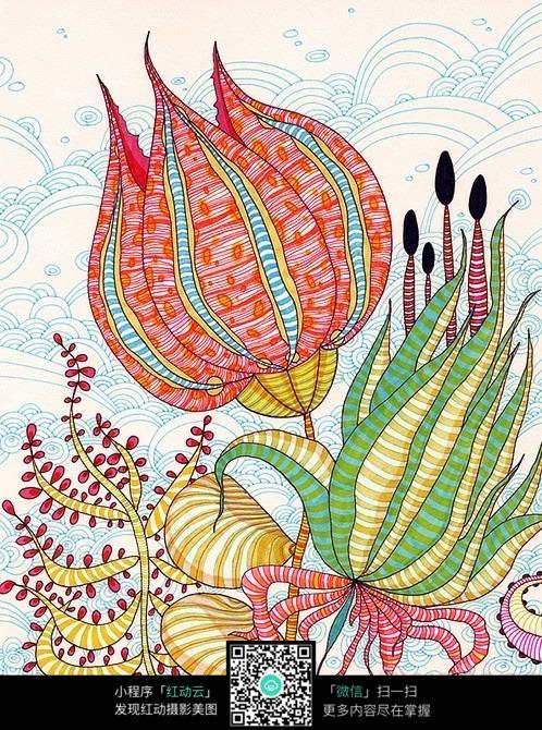 彩色创意手绘花卉插画