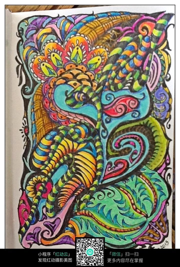 彩色多样化时尚纹理图案设计