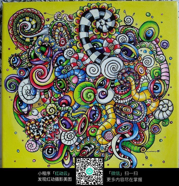 彩色复杂时尚纹理图案设计