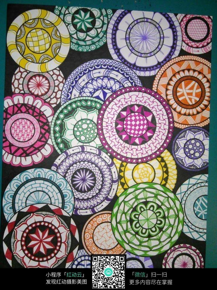 彩色花盘设计图案