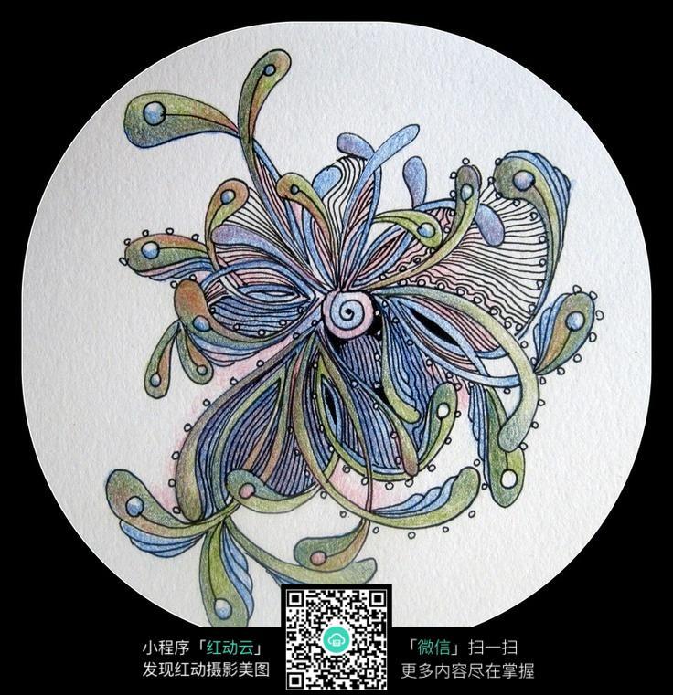 彩色手绘的线条花纹