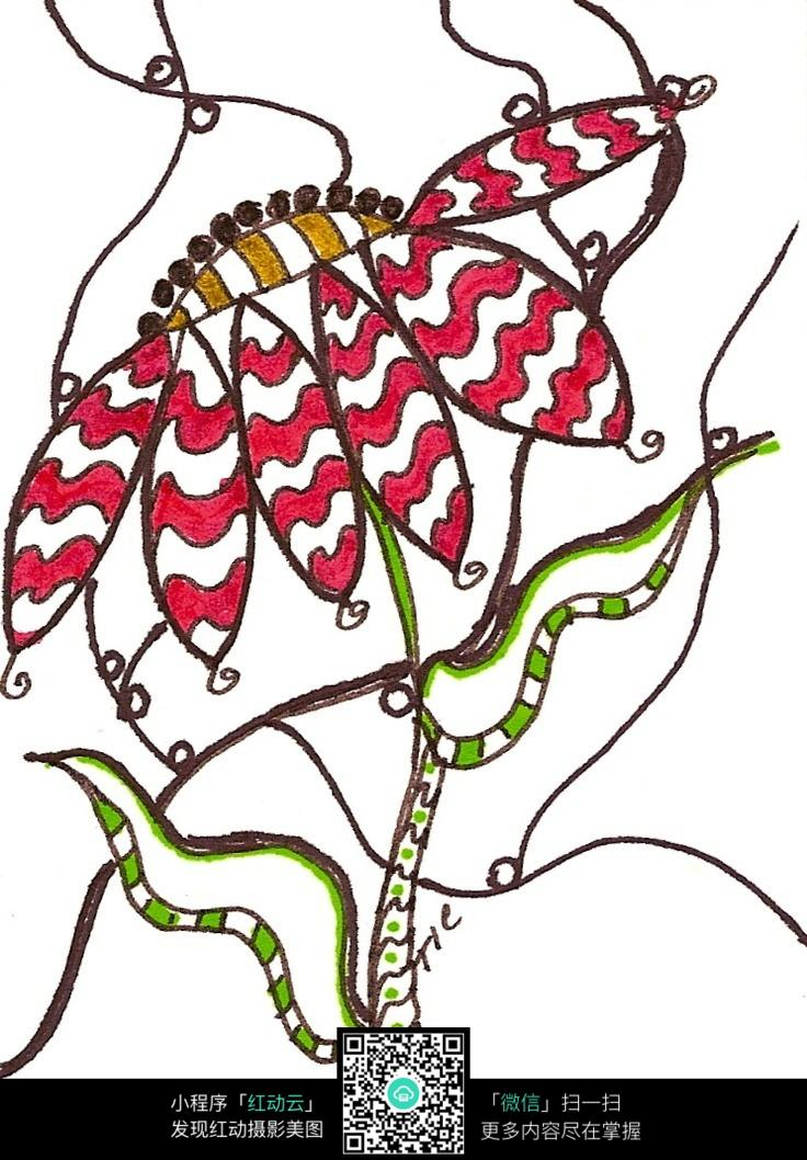 设计素材 手绘图案 彩色 花朵 抽象 叶子 植物 插画 清新 图片素材