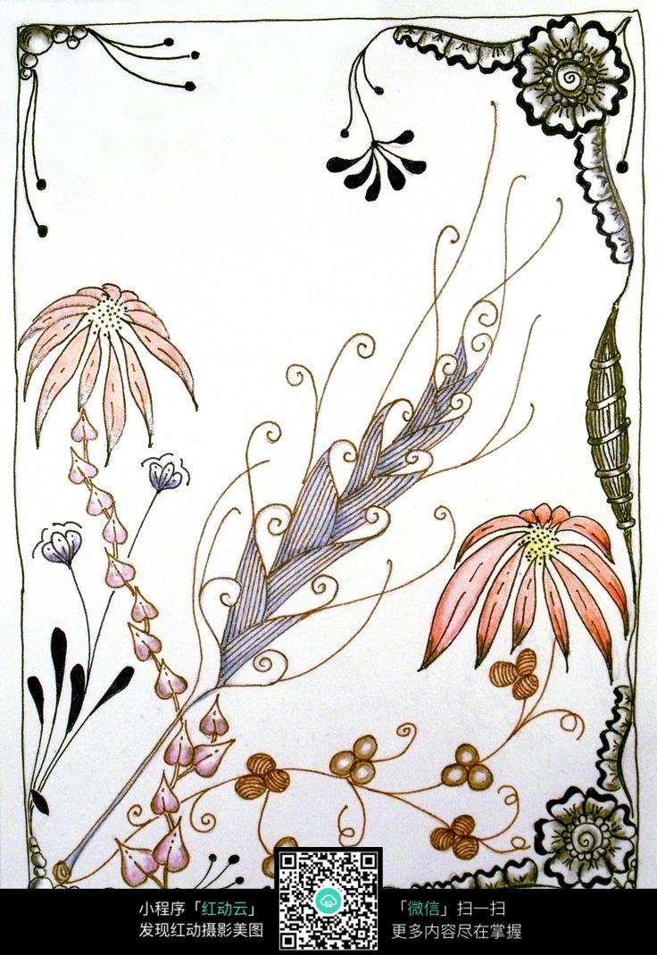 彩色手绘花朵花边
