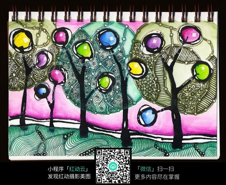 彩色树木花纹 手绘黑白装饰画